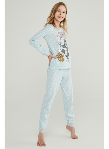 Penti Kız Çocuk Teen Blue Tom&Jerry 2'li Pijama Takım PNRVY5YP20SK Renkli